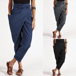 ZANZEA Celana Harem Wanita Dengan Model High-Waist dan Potongan Asimetris