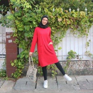 Chamele - Kaos Tunik Baby Terry Premium Tebal - Merah Polos