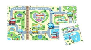 Evamat Puzzle Gambar Bus Tayo Alas Bermain Anak