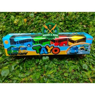 Mainan Bus Tayo Set Komplit (Merah+Kuning+Biru+Hijau) Sudah SNI 2088-4