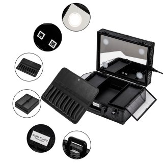 Sonia Miller Sub Compact Diamond Black Beauty Makeup Case with 4 Built in LED
