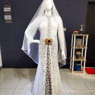 Gaun Pengantin Akad Kebaya Full Payet White Silver