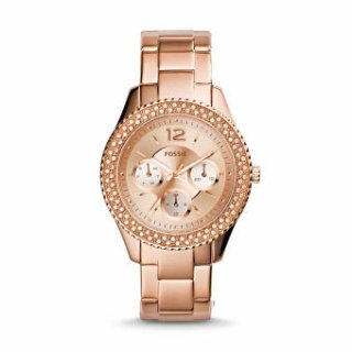 Jam Tangan Fossil Stella Multifunction Rose-Tone Stainless Steel Watch ES3590