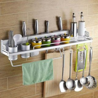 Rak Dinding Dapur Kitchen Rak Bumbu Gantung Aluminium