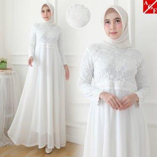 Agnes Baju Gamis Wanita Brukat / Gamis Putih Lebaran Umroh Haji / Busana Muslim Wanita #80920