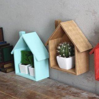 Rak Bentuk Rumah Kayu Gantung DIY