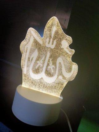 Lampu Tidur Hias LED 3D Transparan 3 Lampu Allah