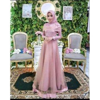 Baju Muslim Pesta Rose Set Pasmina