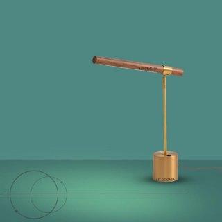 Lampu Meja Belajar Kayu Linear Rangka Emas