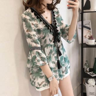 Blouse wanita XL summer Korean chiffon T shirt