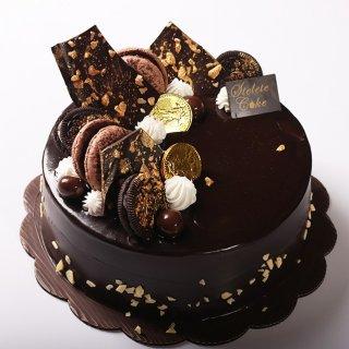 Kue Ulang Tahun Chocolate Fudge & Emas diameter 20 cm / Enak Murah