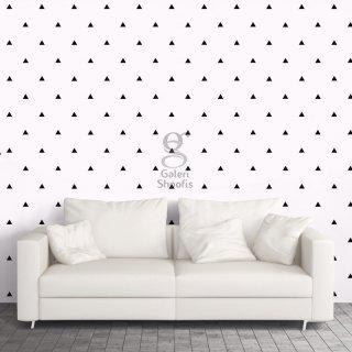 Walpaper Dinding Motif Segitiga Hitam Dasar Putih