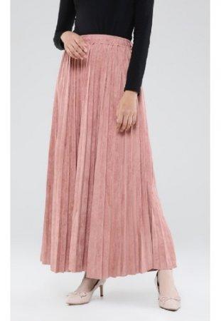 ZAHRA SIGNATURE Long Skirt Plisket Suede