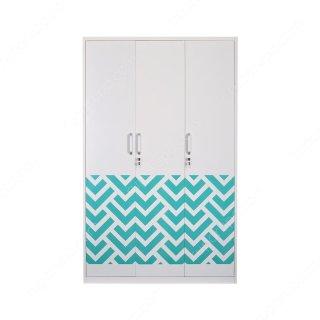 Tiffany Wardrobe 3 Doors White Blue
