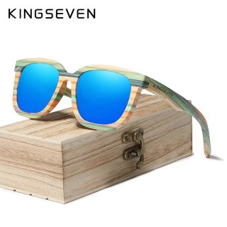 Kingseven Handmade Retro Natural Bamboo Sunglasses