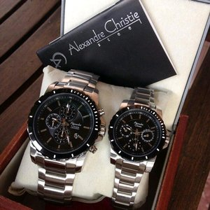 Jam Tangan Alexandre Christie AC-6141 Couple Silver Black