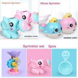 3Pcs/Set Mainan Mandi Bentuk Gayung Gajah+Ikan Paus Semprot+Roda Air untuk Anak/Bayi