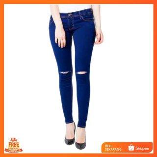 Ripped Skinny Fit Jeans Wanita