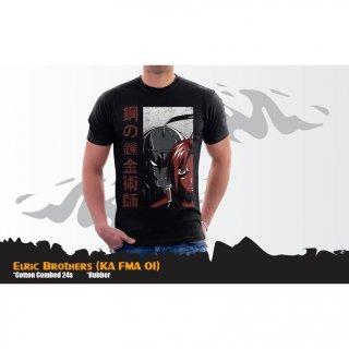Kaos Full Metal Alchemist Elric Brothers T-shirt Hitam (KA FMA 01)