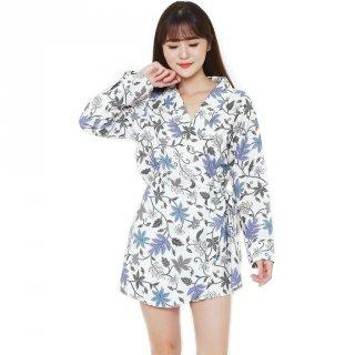 Flike Store - Jumpsuit Wrap Motif Godhong Kates Putih