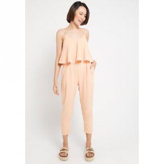 MINEOLA Wolly Crepe Jumpsuit Peach