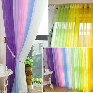 Tirai Pintu / Jendela dengan Bahan Tulle Voile dan Gambar Motif