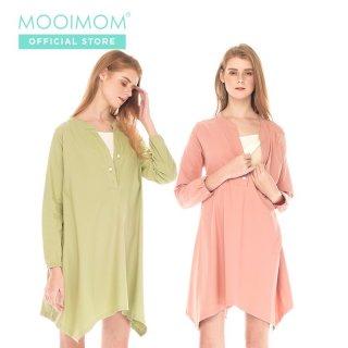 MOOIMOM Cool Cotton Pastel Long Sleeve Maternity & Nursing Dress