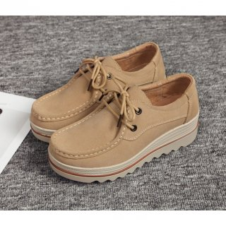 Wanita Flat Sepatu Suede Kulit Klasik Inggris Formal Oxfords Gaya Preppy