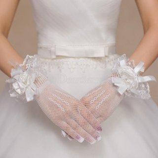Sarung Tangan Pernikahan Sarung Tangan Etiket Sarung Tangan Putih Merah Renda Bunga Pendek