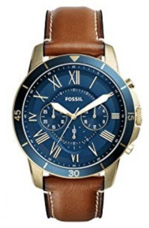 Fossil - FS5268 Grant Chronograph Blue Dial Genuine Leather Strap