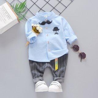 COCOBABY Pakaian Anak Bayi Lakilaki Jenggot Bergaris Pria Baju+Celana WKX0238