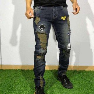 Jeans Emblem Ripped Celana Jeans Pria