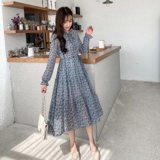 Korea Fashion Chiffon Floral Loose Pleated Casual Long Dress