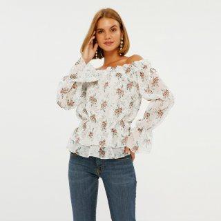 Cloth Inc Long Sleeve Floral Sheer Top