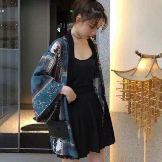 Outer Harajuku Import Cardigan Kimono Gaya Retro Print Japanish Style