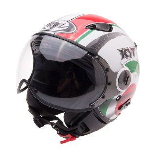 KYT Elsico White Green Helm Half Face