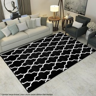 Karpet Motif Monokrom Hitam Putih 160 x 210 cm
