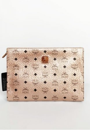 MCM Zip Pouch in Visetos Champagne Gold Large