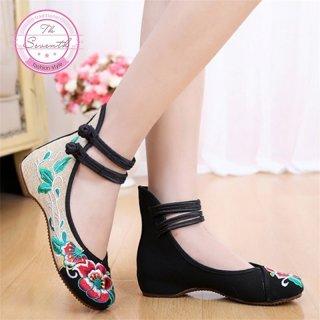 Sepatu Flat Mary Jane High Top Motif Bordir