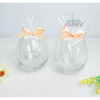 Souvenir Gelas Kaca Free Kemas Plastik ,Kartu ucapan dan Pita
