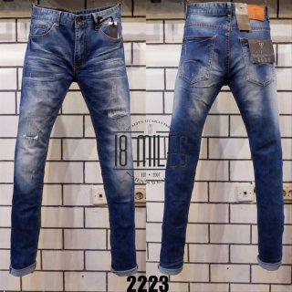 Celana Jeans Pria Guess Premium Sobek Biru Washed Import Skinny Fit