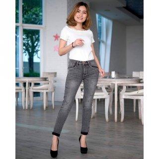 Rolled Up Jeans Wanita Stretch Premium Grey