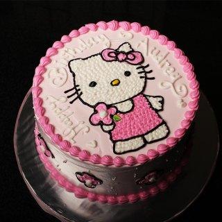 Kue Ulang Tahun Hello Kitty diameter 20 cm (cream)