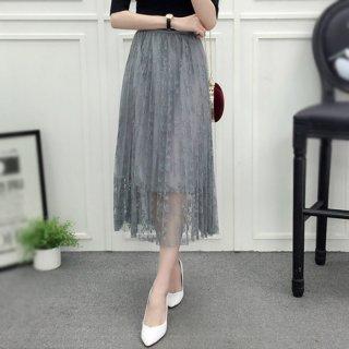 Rok Tutu Model A-Line Lipit Bahan Lace Mesh Motif Bordir Bunga