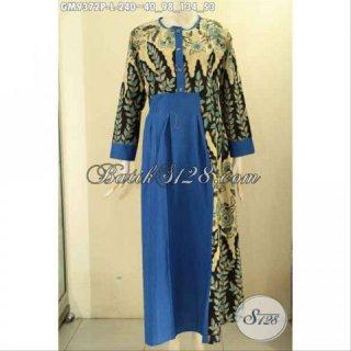 Baju Gamis Wanita Berhijab Bahan Batik Solo Motif Elegan