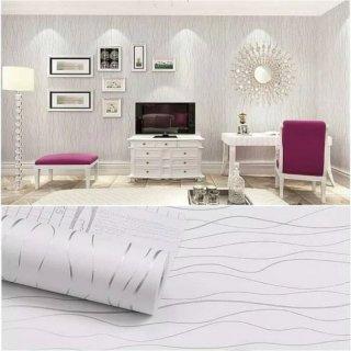 Wallpaper Dinding Motif Wave Garis Salur Putih Silver