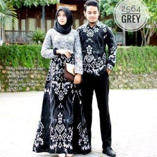 Couple Baju Batik Gamis Katun Mix Brokat Furing Pakaian Batik Keluarga