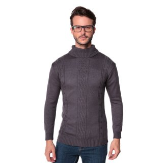Sweater Rajut Pria Tebal Turtle Neck Best Seller Dark Grey