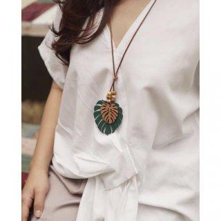 MONSTERA Necklace | Kalung Etnik Handmade Kayu Kulit