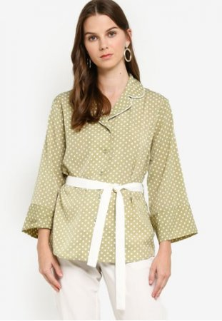 Zalora Bell Sleeves Blouse with Self Tie